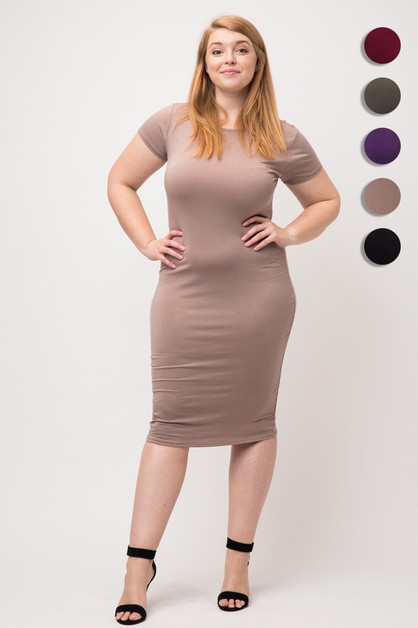 Plus Size Short Sleeve Bodycon Dress - orangeshine.com