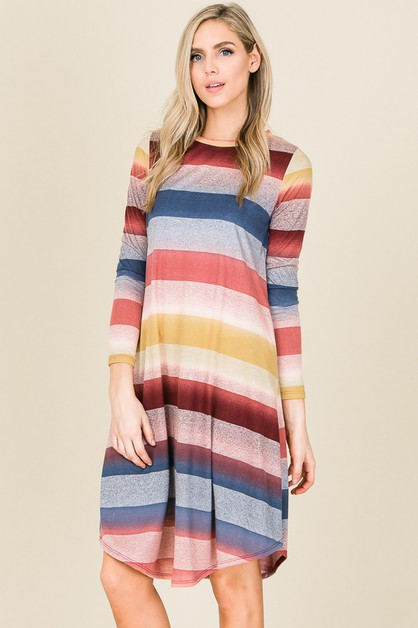 MULTI COLOR STRIPE LONG SLEEVE DRESS - orangeshine.com