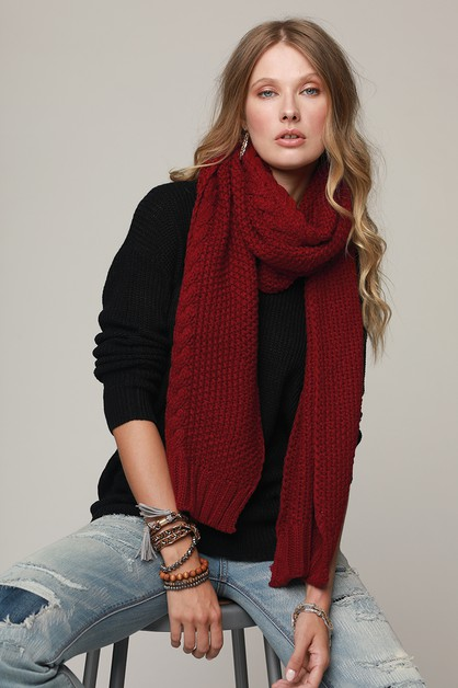 Chunky Cable Knit Oblong Scarf - orangeshine.com