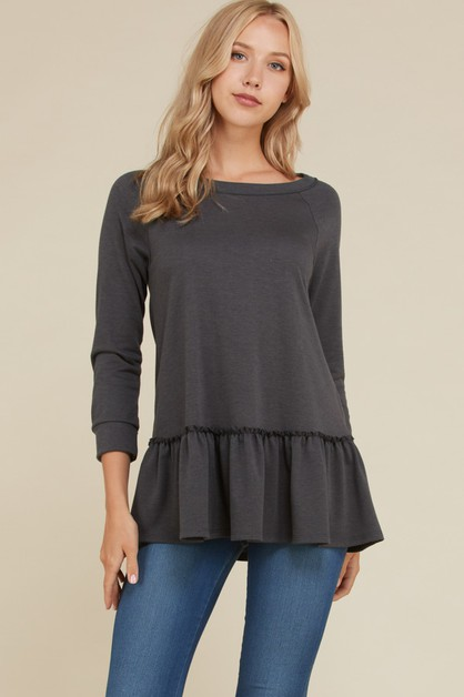 French Terry Boat Neck Ruffle Top - orangeshine.com
