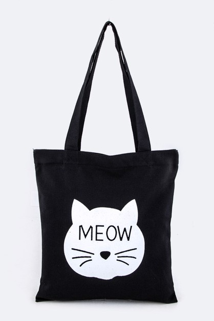 MEOW Comic Cat Cotton Canvas Tote - orangeshine.com