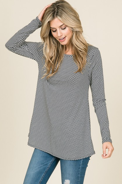 LONG SLEEVE EASY FIT CHECKERED TOP - orangeshine.com