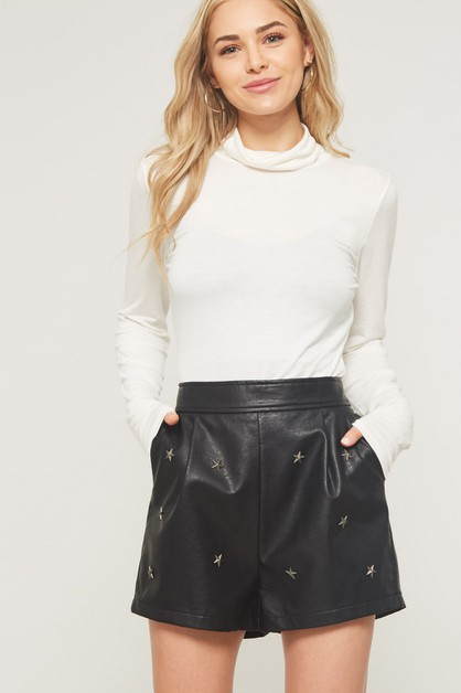 Star Studded Faux Leather Shorts - orangeshine.com