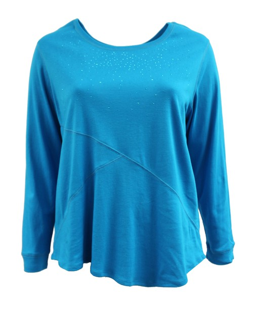 Blue Long Sleeve Sweater Plus Size - orangeshine.com