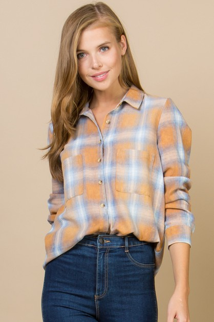 STONE WASHED PLAID SHIRT - orangeshine.com