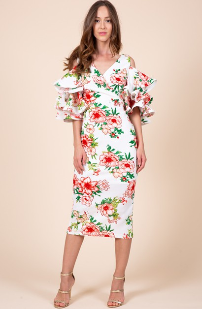 Floral Printed V-Neck Surplice Dress - orangeshine.com