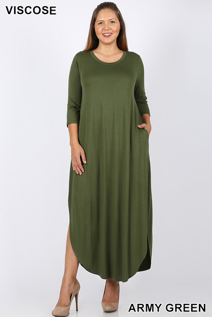 PLUS MAXI DRESS SIDE SLIT - orangeshine.com
