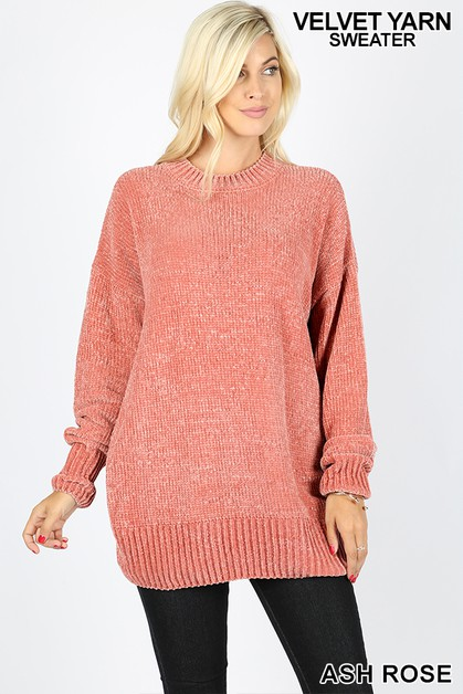 LONG SLEEVE VELVET YARN SWEATER - orangeshine.com