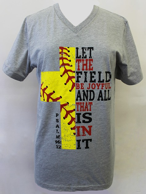 Softball Cross V Neck - orangeshine.com