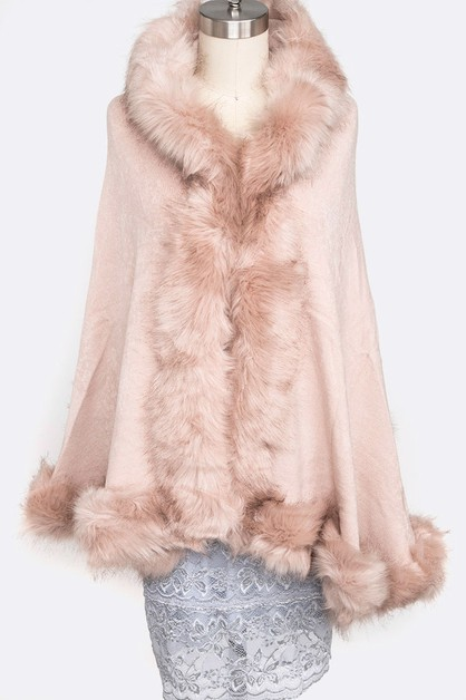 Faux Fur Plushy Cape - orangeshine.com