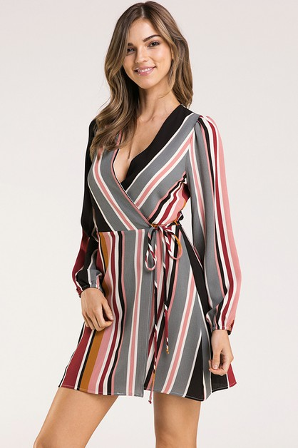 MULTI STRIPE WRAP DRESS - orangeshine.com