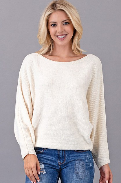 CHENILLE DOLLMAN SL SHORT SWEATER - orangeshine.com