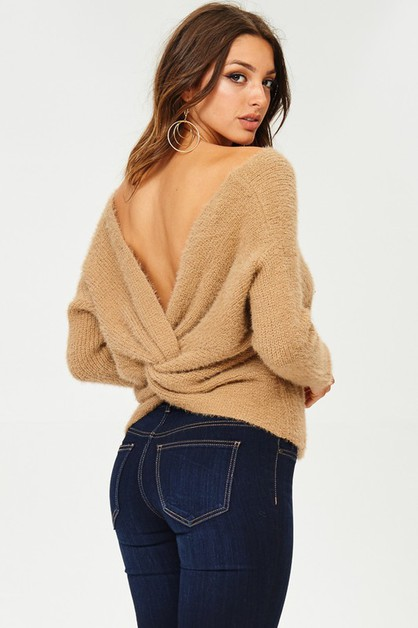 SWEATER WITH REVERSIBLE PLUNGING - orangeshine.com