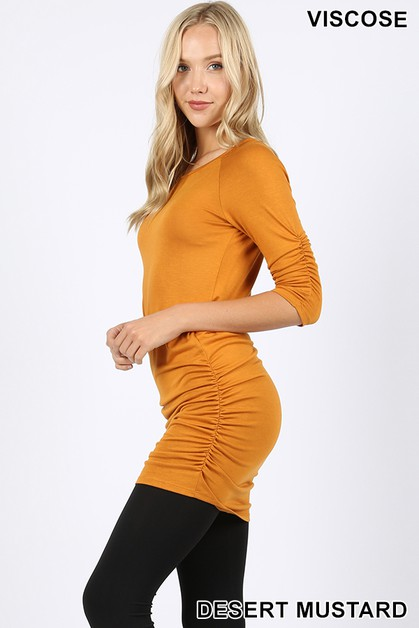 VISCOSE TUNIC WITH SHIRRING DETAIL - orangeshine.com