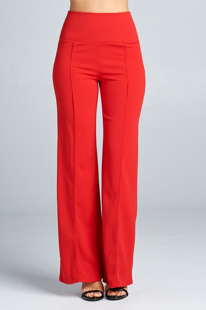 Solid high waist wide leg pants - orangeshine.com