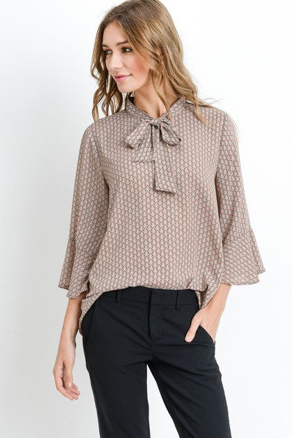 Ruffle Sleeves Neck Tie Print Top - orangeshine.com