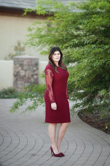 Tiffany Dress - Red Lace Slv Plus - orangeshine.com