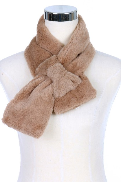 Bow Accent Soft Fur Scarves - orangeshine.com