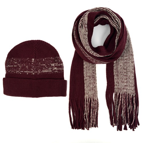 Men Winter Knit Wine Scarf and Hat - orangeshine.com