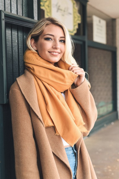 Solid Blanket Scarf with Frayed Edge - orangeshine.com