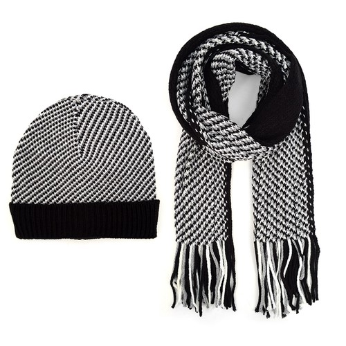 Men Winter Knit Scarf and Hat Set  - orangeshine.com