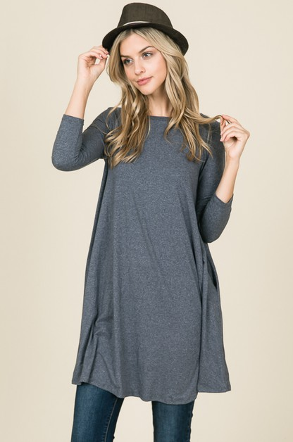 3/4 sleeve fit and flare dress - orangeshine.com
