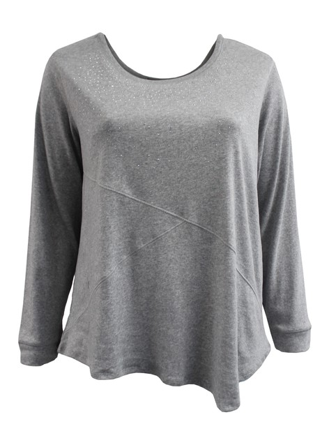 Grey Long Sleeve Sweater Plus Size - orangeshine.com