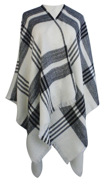 White and Black Plaid Ruana Wrap  - orangeshine.com