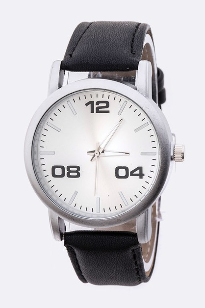 Simple Dial Leather Band Watch - orangeshine.com