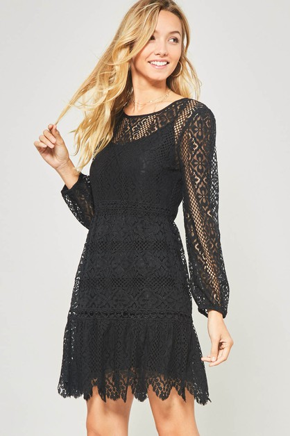 Crochet Lace Flared Midi Dress - orangeshine.com