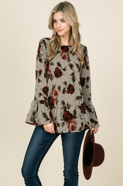 LONG SLEEVE FLOWER PRINT CASUAL TOP - orangeshine.com