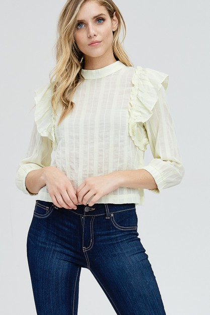 High Neck Ruffle Blouse - orangeshine.com