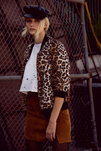 Leopard Zip-up Fur Jacket - orangeshine.com