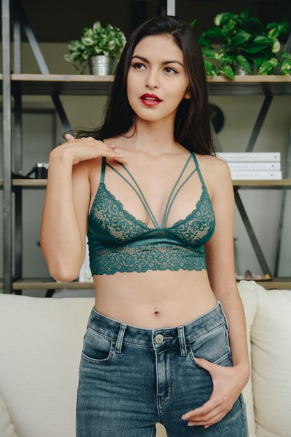 Cut Out Strappy Lace Bralette - orangeshine.com