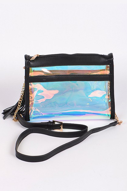 Clear Flashy Crossbody Clutch Bag - orangeshine.com