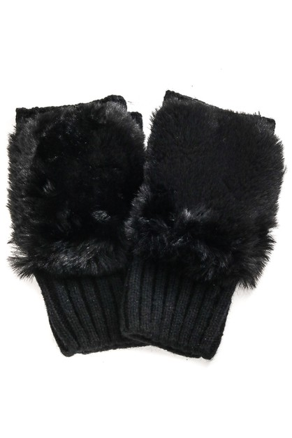 Soft Faux Fur Fingerless Gloves - orangeshine.com