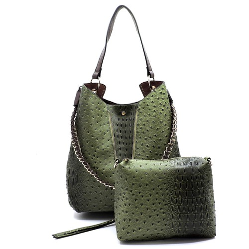 Ostrich Croc   2-in-1 Shoulder Bag - orangeshine.com