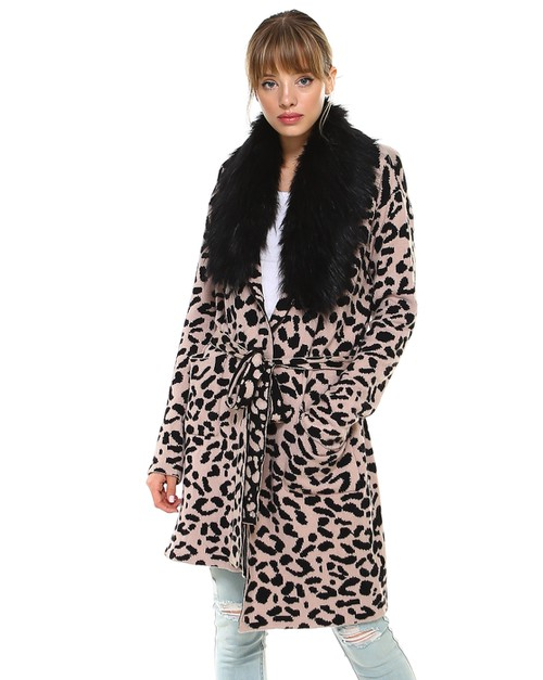 -Leopard Printed Belted Coat Sweater - orangeshine.com