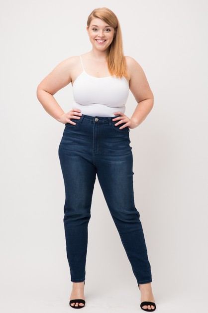 Plus High Waist Washed Skinny Jeans - orangeshine.com