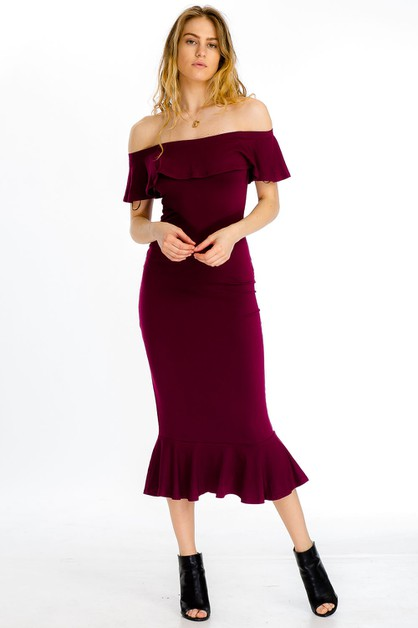Off Shoulder Flounce Mermaid Dress - orangeshine.com