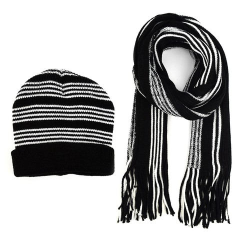 Men Winter Knit Striped Scarf Hat - orangeshine.com
