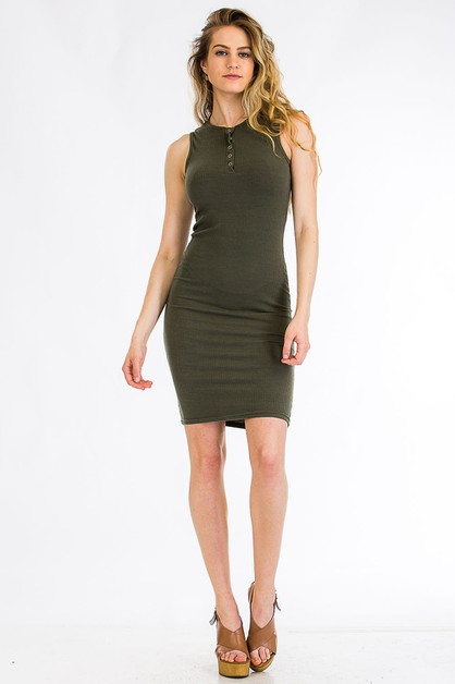 Ribbed Front Button Dress - orangeshine.com