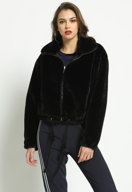 FAUX FUR DRAWSTRING JACKET - orangeshine.com