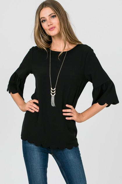 Three Quarter Length Sleeve Top  - orangeshine.com