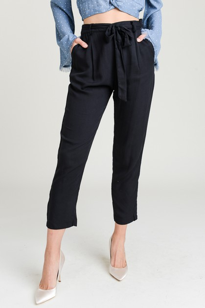Belted Tie Waist Trousers - orangeshine.com