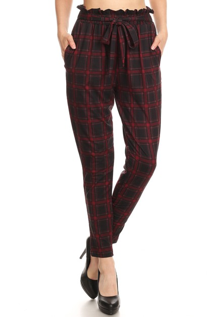 Plaid Paper Bag Waist Pants Ruffle - orangeshine.com