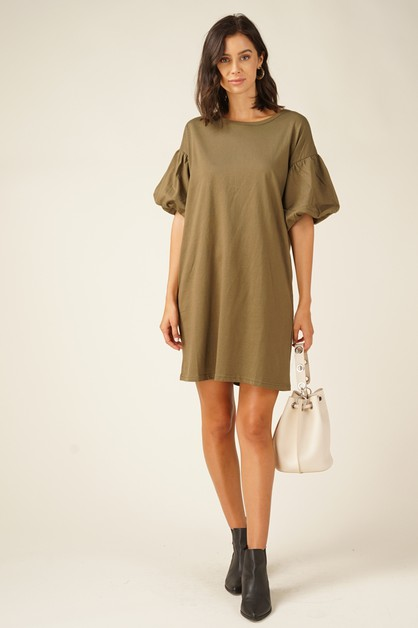 Short-sleeve knit t-shirt dress - orangeshine.com