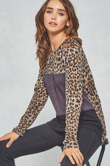 Leopard Color Block Top with Buttons - orangeshine.com