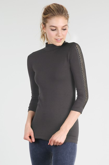 Mesh Sleeve Mock Neck Top - orangeshine.com