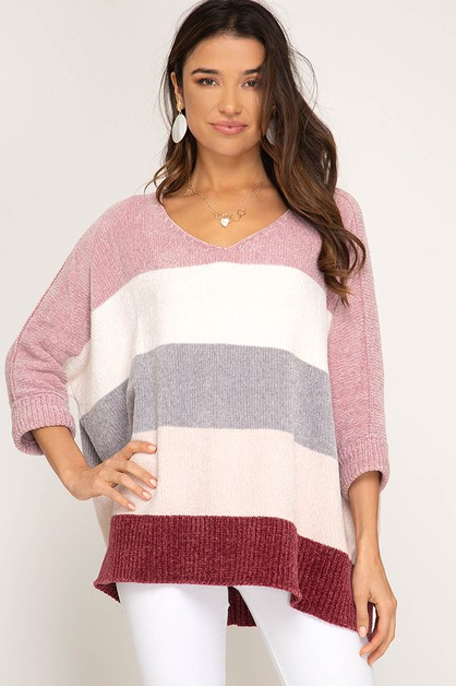 CHENILLE COLOR BLOCKED SWEATER - orangeshine.com